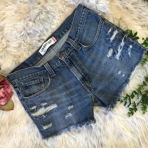 Levis 527 Cutoff Jean Shorts Ripped Distressed 32